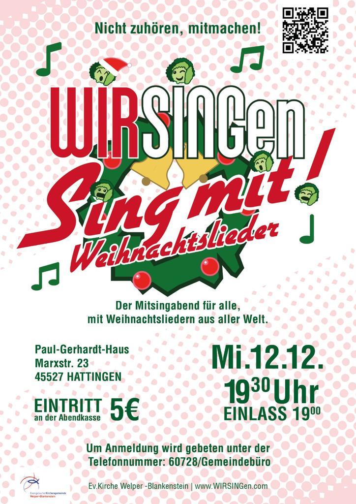 Weihnachtslieder Mit Text Zum Mitsingen.Wirsingen Weihnachtslieder Evangelische Kirchengemeinde Welper